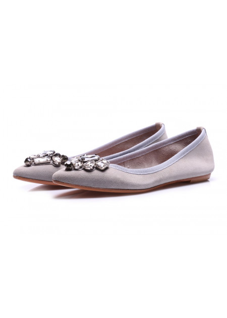 WOMEN'S SHOES BALLERINAS GREY POPS