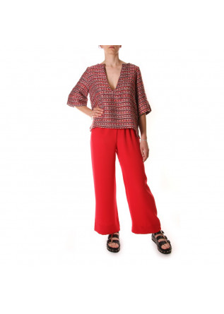 WOMEN'S CLOTHING PALAZZO PANTS VISCOSE HANDMADE IN ITALY RED PAGLIA