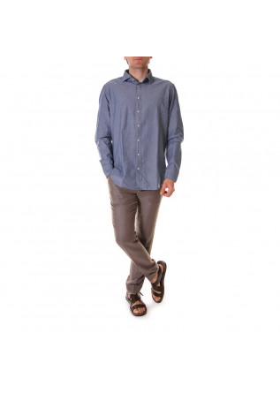 MEN'S CLOTHING SHIRT COTTON DARKER LIGHT BLUE BASTONCINO
