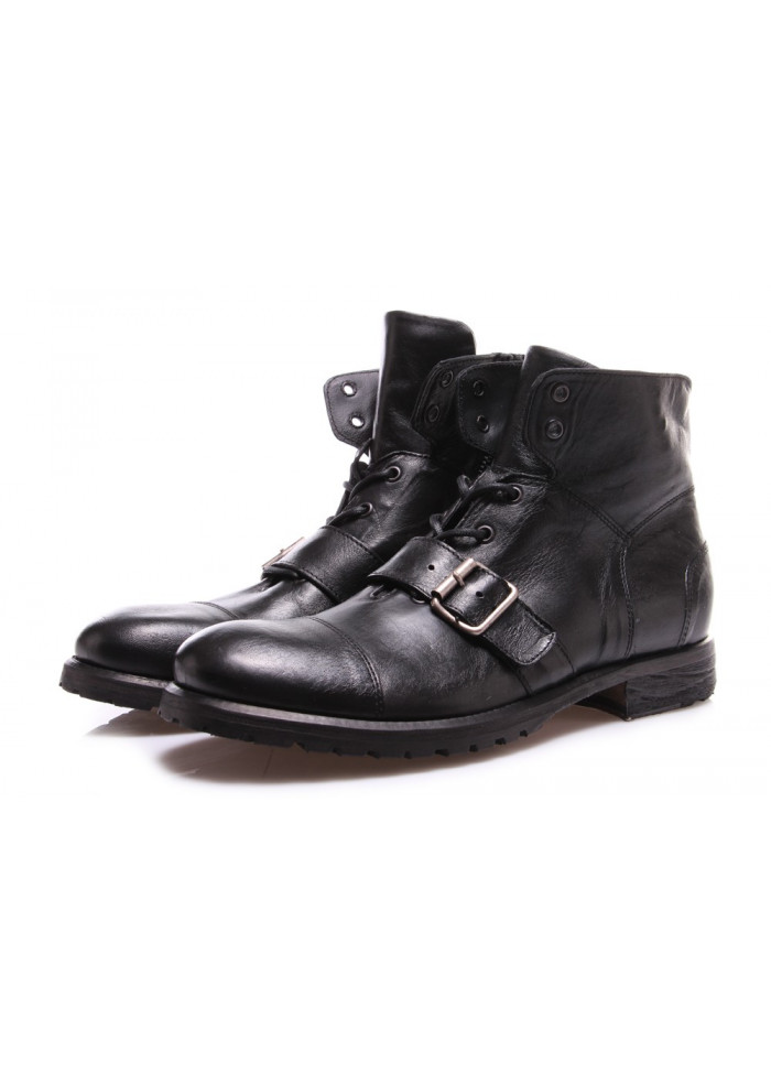 MEN'S SHOES ANKLE BOOTS LEATHER MADE IN ITALY BLACK PAWELK'S