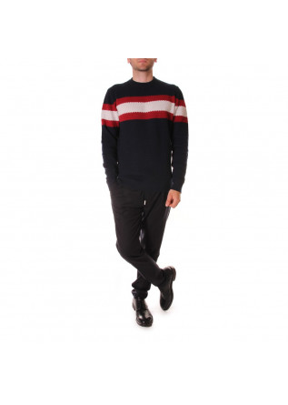 MEN'S CLOTHING KNITWEAR CREW NECK BLUE/RED/WHITE WOOL & CO WO