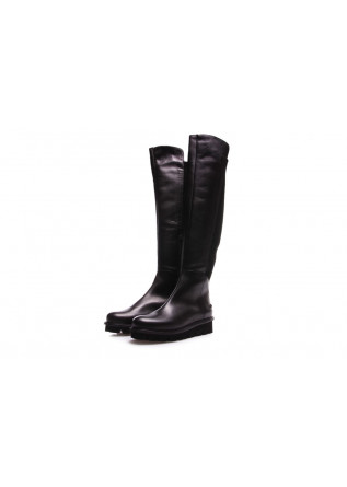 WOMEN'S SHOES BOOTS BLACK LEATHER PATRIZIA BONFANTI