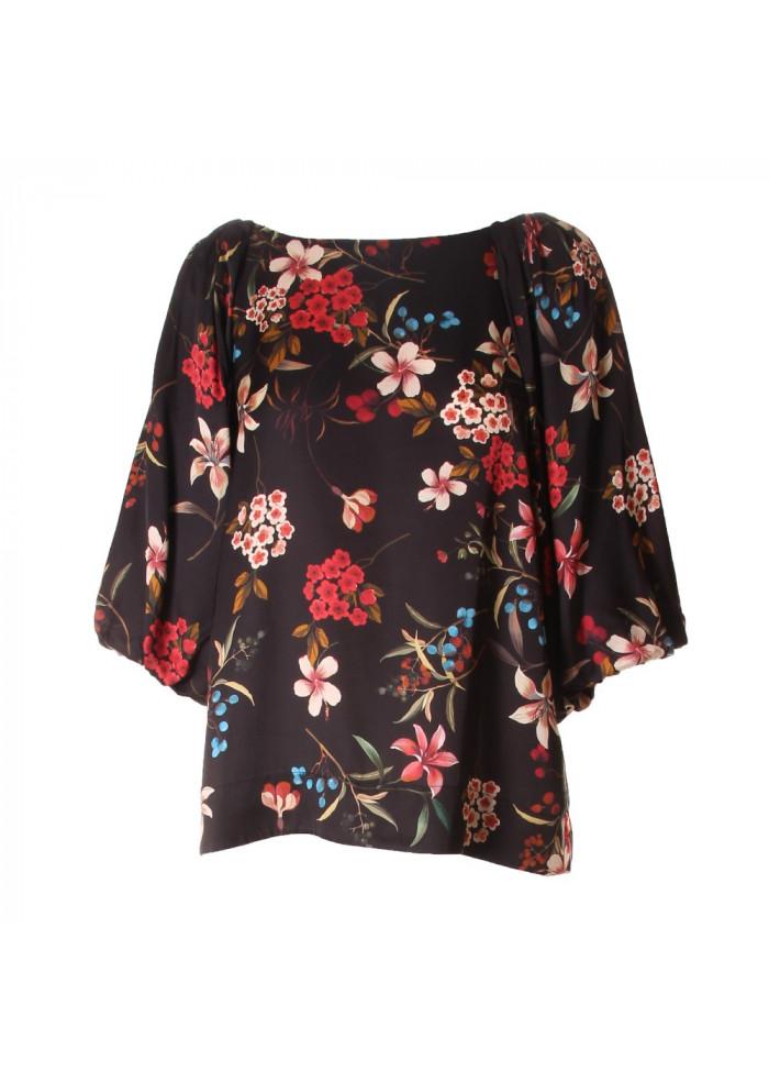 WOMEN'S CLOTHING SHIRT BLACK FLOWERS SOALLURE