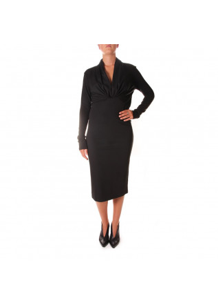 WOMEN'S CLOTHING DRESS MIDI V-NECK BLACK VIRNA DRO'