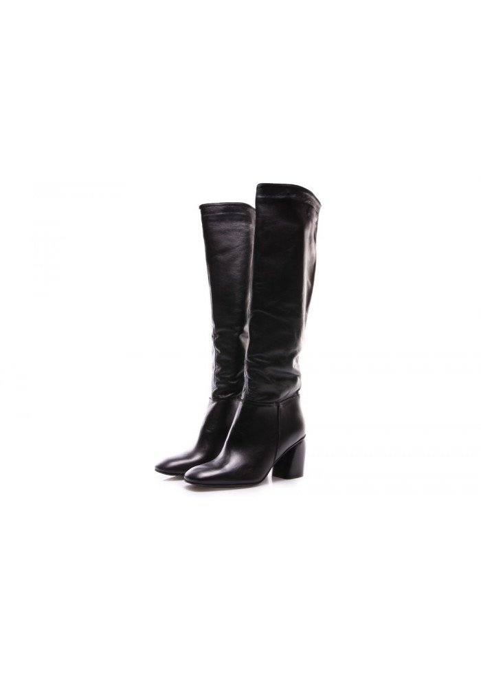 WOMEN'S SHOES BOOTS NAPPA SCULPTURE HEEL BLACK POESIE VENEZIANE
