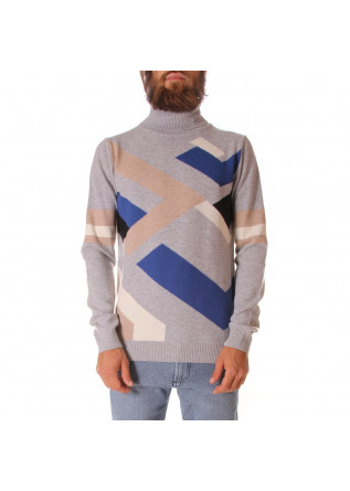 MEN'S CLOTHING KNITWEAR TURTLENECK BLUE GREY DANIELE FIESOLI
