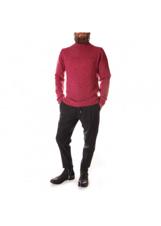 MEN'S CLOTHING KNITWEAR MERINO WOOL COTTON RED DANIELE FIESOLI