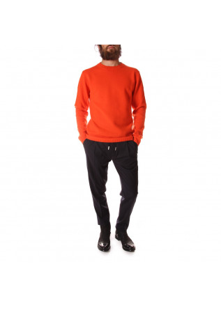 MEN'S CLOTHING KNITWEAR SWEATER MERINO WOOL ORANGE DANIELE FIESOLI