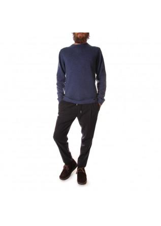 MEN'S CLOTHING KNITWEAR SWEATER MERINO WOOL BLUE NIGHT DANIELE FIESOLI
