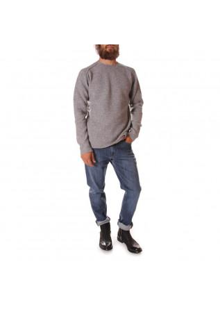 MEN'S CLOTHING KNITWEAR SWEATER MERINO WOOL PEARL GREY DANIELE FIESOLI