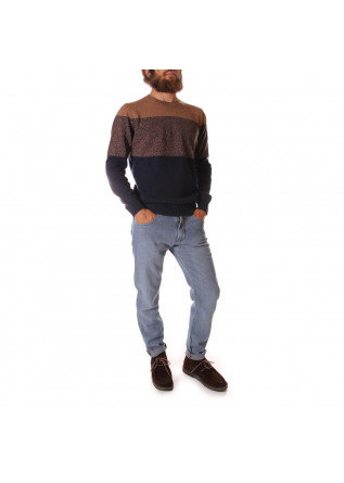 MEN'S CLOTHING KNITWEAR SWEATER MERINO WOOL BLUE BISCUIT BROWN JURTA