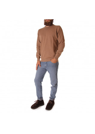MEN'S CLOTHING KNITWEAR SWEATER CREW NECK BROWN LIGHT HAZELNUT JURTA