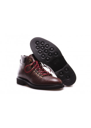 MEN'S SHOES ANKLE BOOTS LEATHER DARK BROWN MANOVIA 52