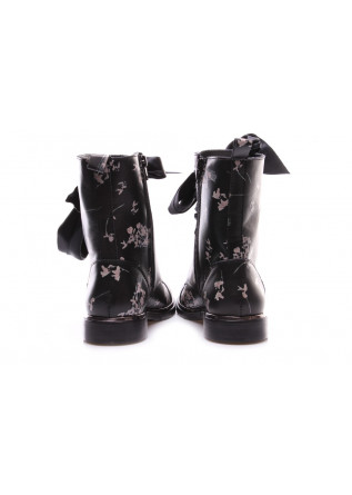 WOMEN'S SHOES ANKLE BOOTS LEATHER PINK FLORAL TEXTURE BLACK D+