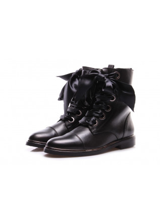 WOMEN'S SHOES ANKLE BOOTS OVERSIZED LACES BLACK D+