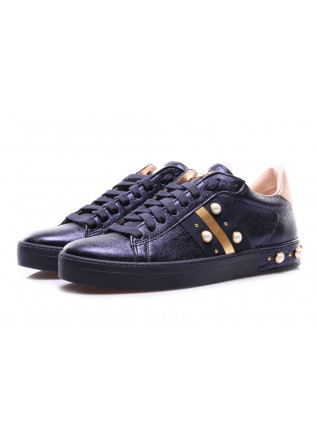 WOMEN'S SHOES SNEAKERS LEATHER GOLD BLUE STOKTON