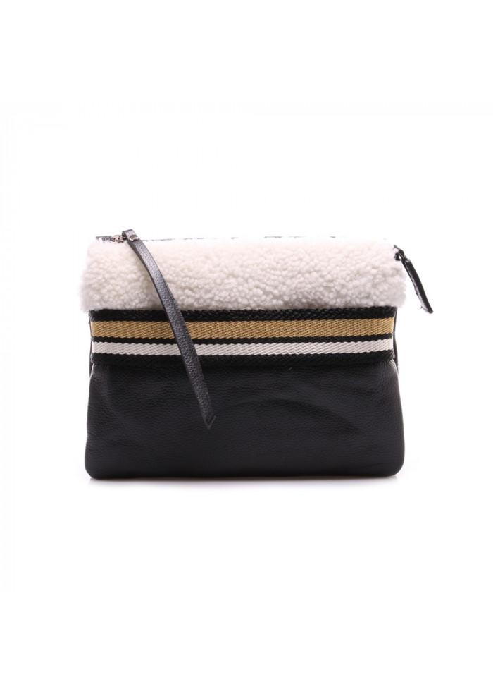 foto ufficiali 2c047 7dd61 WOMEN'S BAGS BAG POCHETTE FAUX FUR BLACK WHITE GIANNI CHIARINI