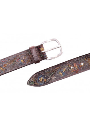 MEN'S ACESSORIES BELT CARVED FLORAL DRAWINGS HANDMADE BROWN ORCIANI