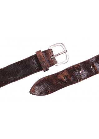 MEN'S ACESSORIES BELT GENUINE CARVED LEATHER HANDMADE BROWN ORCIANI