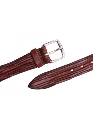 MEN'S ACCESSORIES BELT SQUARED BUCKLE HANDMADE BROWN ORCIANI