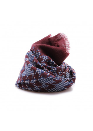 MEN'S ACCESSORIES SCARF VIRGIN WOOL BORDEAUX BLUE WHITE DANDY STREET