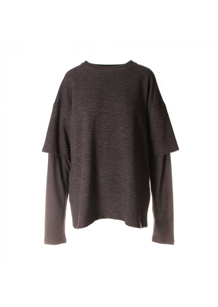 UNISEX CLOTHING SWEATSHIRT ORGANIC COTTON T-SHIRT PRINT GREY WRAD
