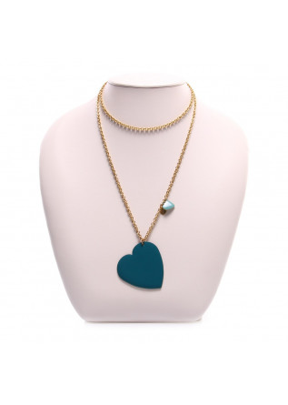 WOMEN'S ACCESSORIES NECKLACE HEART CHARM BLUE / LIGHT BLUE UNIQUE