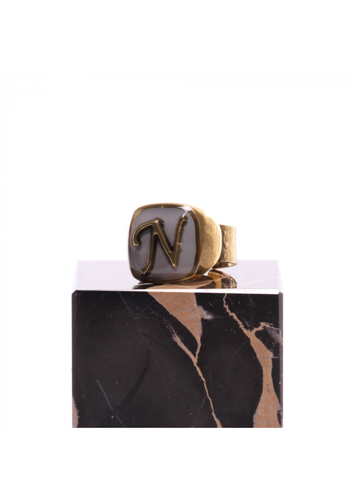 WOMEN'S ACCESSORIES RING LETTER N GREY UNIQUE