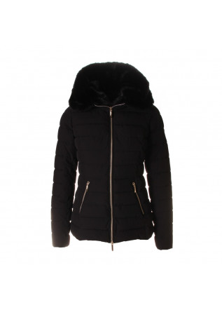 WOMEN'S CLOTHING JACKET SLIM FAUX FUR HOODY BLACK UP TO BE