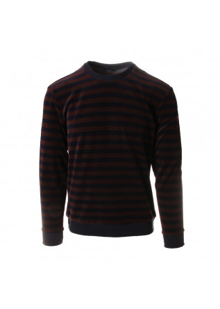 MEN'S CLOTHING KNITWEAR CREW NECK CHENILLE BROWN BLUE OFFICINA36
