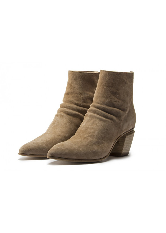 WOMEN'S SHOES ANKLE BOOTS SUEDE WRINKLED BEIGE OFFICINE CREATIVE
