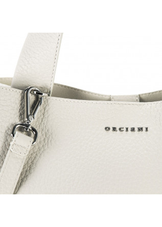 WOMEN'S BAGS SHOULDER BAG HAMMERED LEATHER CHALK WHITE ORCIANI