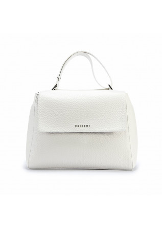 WOMEN'S BAGS SHOULDER BAG HAMMERED LEATHER WHITE ORCIANI