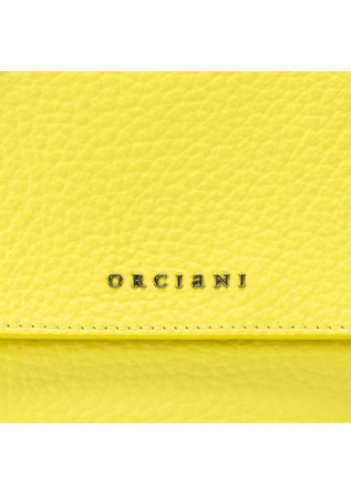 WOMEN'S BAGS HANDBAG IN HAMMERED LEATHER LEMON YELLOW ORCIANI