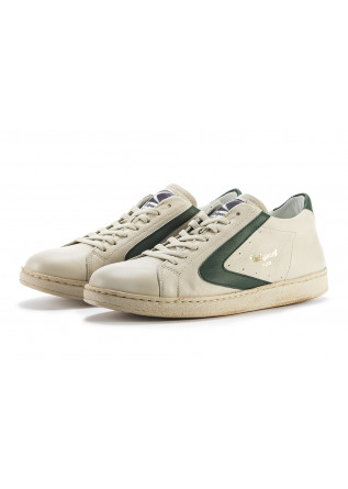 MEN'S SHOES HANDMADE SNEAKERS CREAM BEIGE / FOREST GREEN VALSPORT
