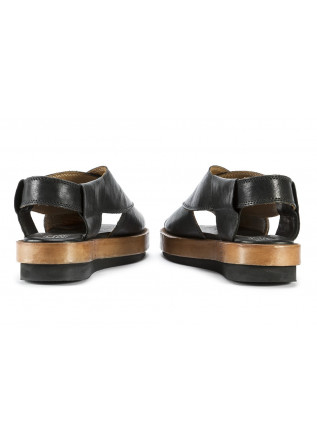 WOMEN'S SHOES SANDALS IN LEATHER HANDMADE BLACK / BEIGE MOMA