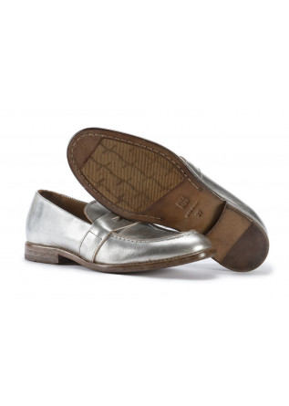 WOMEN'S SHOES FLAT SHOES LEATHER MOCASSIN MATT SILVER MOMA