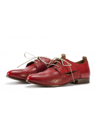 WOMEN'S SHOES LACE-UP LEATHER HANDMADE IN ITALY RED MOMA