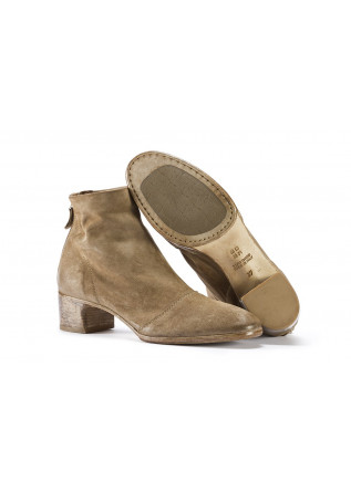 WOMEN'S SHOES ANKLE BOOTS SUEDE LEATHER HANDMADE BEIGE MOMA