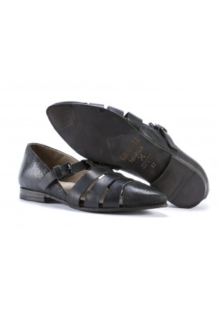 WOMEN'S SHOES FLAT SHOES HANDMADE LEATHER BLACK GORDON 1956
