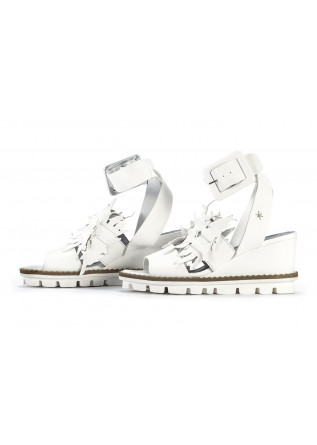 WOMEN'S SHOES SANDALS WEDGES LEATHER WHITE PATRIZIA BONFANTI