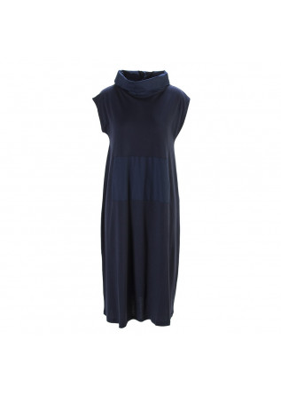 WOMEN'S CLOTHING LONG DRESS ORGANIC COTTON NAVY BLUE BIONEUMA