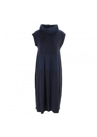 WOMEN'S CLOTHING LONG DRESS ORGANIC COTTON NAVY BLUE BIONEUMA