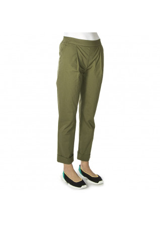 WOMEN'S CLOTHING TRAUSERS PURE COTTON MILITARY GREEN SEMICOUTURE