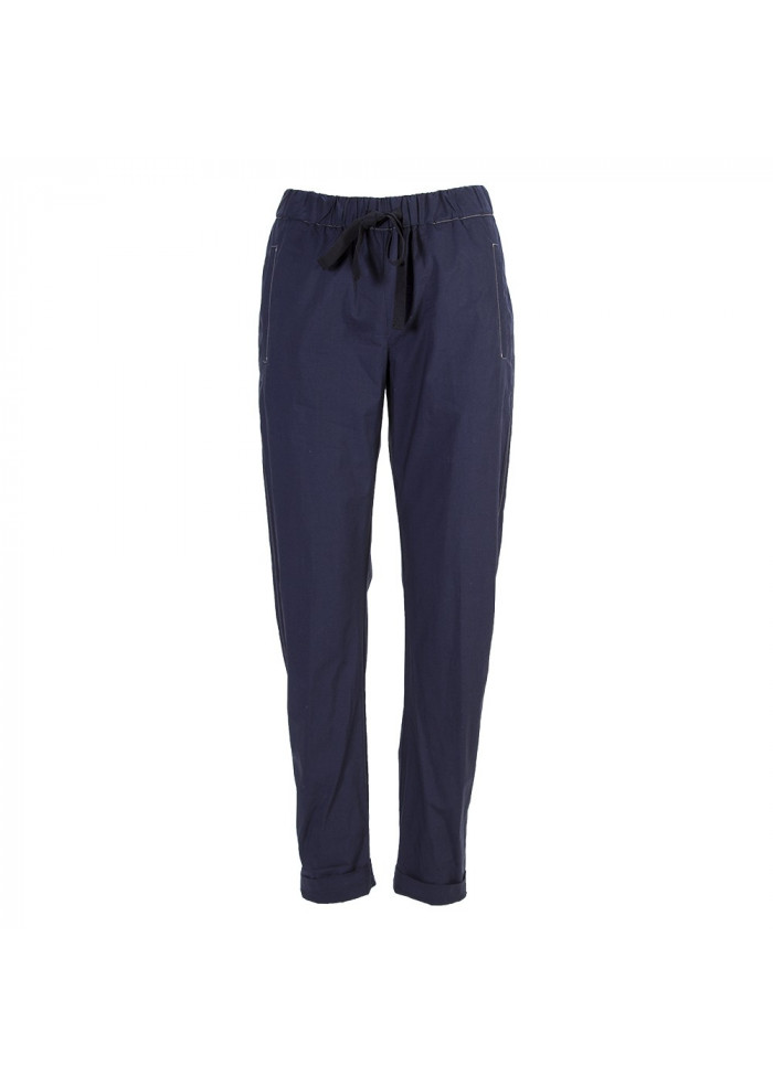 WOMEN'S CLOTHING TROUSERS 100% COTTON NAVY BLUE SEMICOUTURE