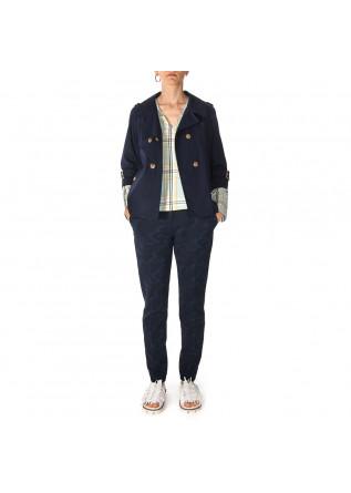 WOMEN'S CLOTHING SHORT TRENCH COAT IN COTTON DARK BLUE MERCI