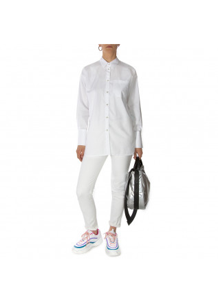 WOMEN'S CLOTHING SHIRT CLASSIC COLLAR IN COTTON WHITE MERCI