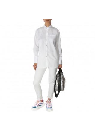WOMEN'S CLOTHING SHIRT CLASSIC COLLAR IN COTTON WHITE MERCI