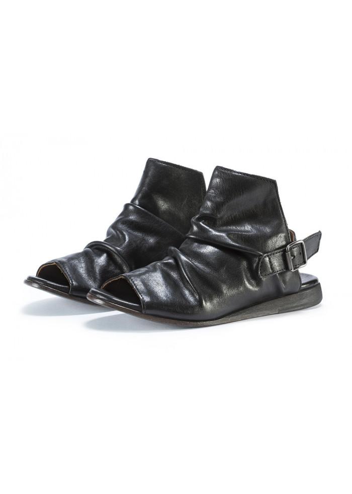 Damenschuhe Leder Sandalen Handgemacht Schwarz Moma T1JlKFc3