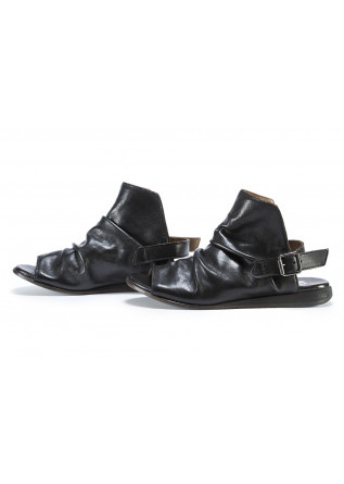 WOMEN'S SHOES SANDALS LEATHER HANDMADE BLACK MOMA